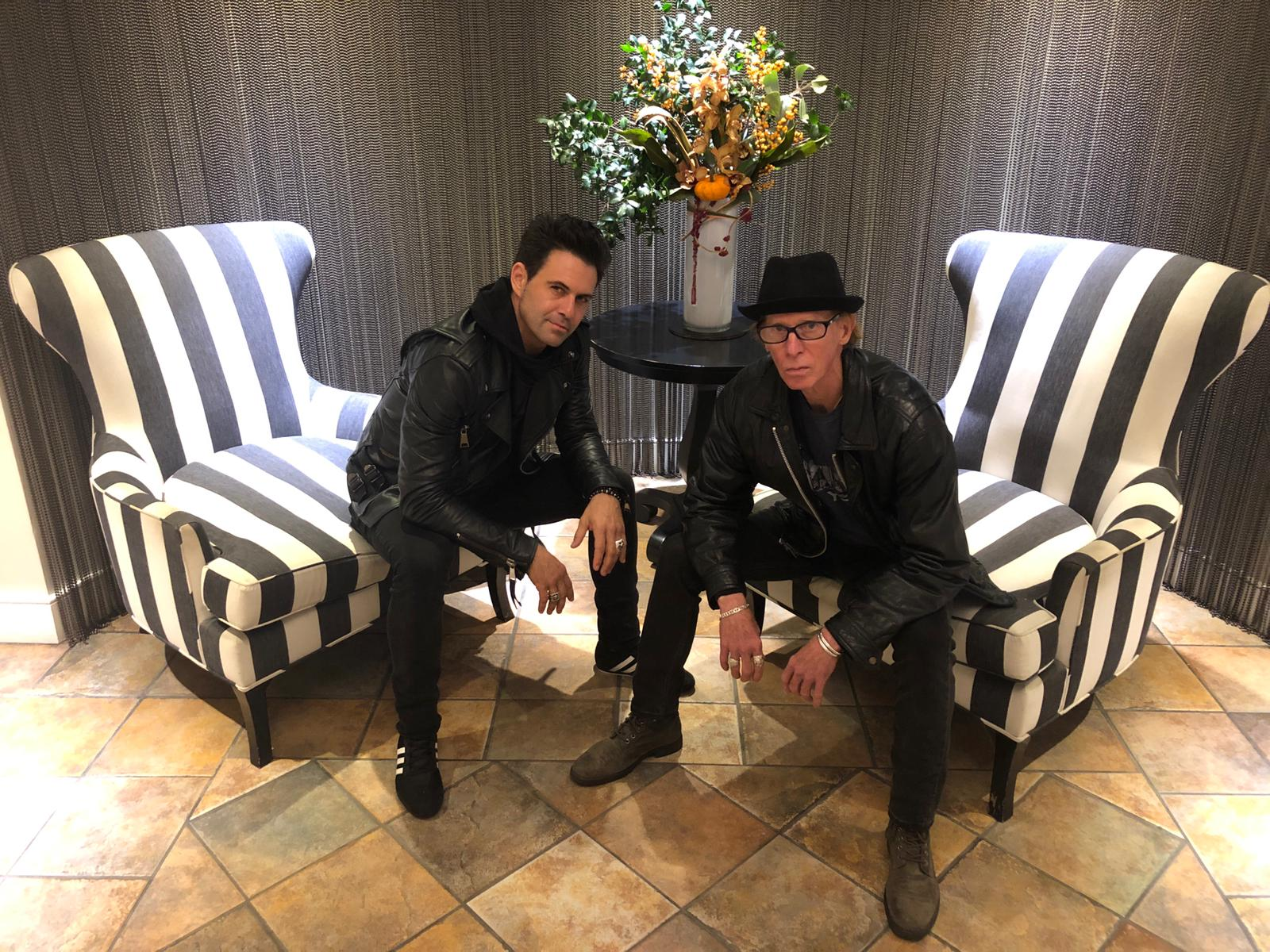 manu lanvin and mike muller in new york lobby